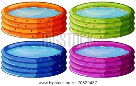 Illustration of the kiddie pools on a white background