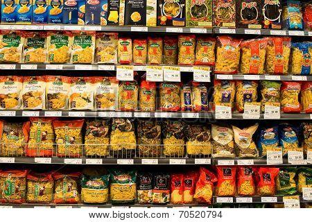 Assortment Of Italian Pasta, Macaroni In A Supermarket Siam Paragon. Bangkok, Thailand.