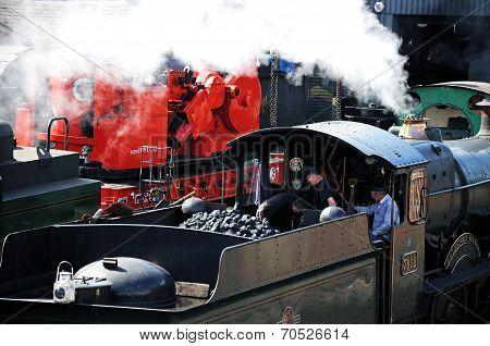 Steam locomotive and crew, Bridgnorth.