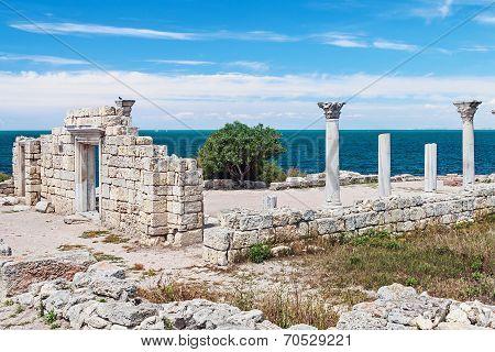 Ancient Greek Basilica And Marble Columns In Chersonesus Taurica. Sevastopol