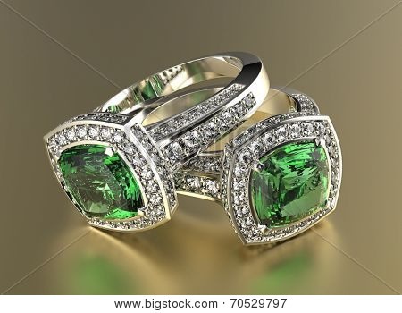 Golden Ring with Diamond. Jewelry background. Peridot