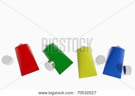 Colorful Acrylic Paint Tubes