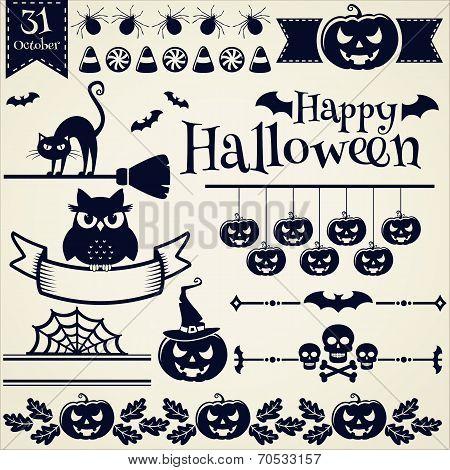 Halloween Design Elements. Vector Set.