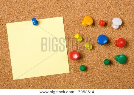 Blank Paper Note On Cork Board