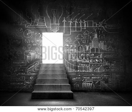 Background conceptual image with doorway and business sketches