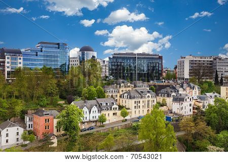 Luxemburg cityscape view from top in summer