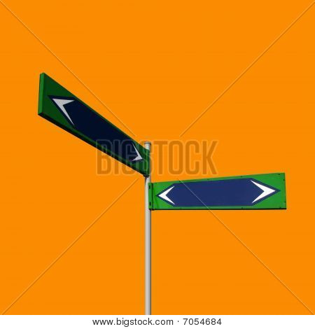 Direction Signs On Orange Background With Working Path