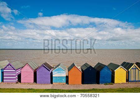 Colorful beach huts in Herne Bay in England