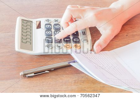 Businesswoman Calculated Account Balance