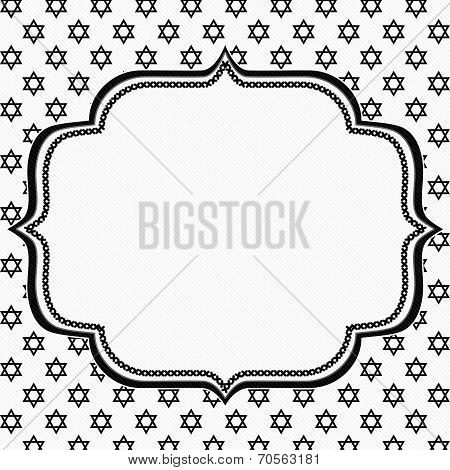 Black And White Star Of David Patterned Background With Embroidery