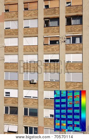 Residential Building With Infrared Thermovision Image