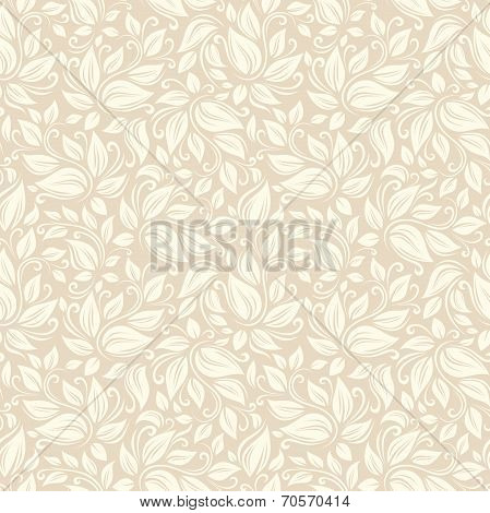 Seamless beige floral pattern. Vector illustration.