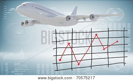 Modern airplane and graph of price changes