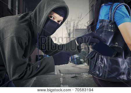 A Thief Stealing Mobile Phone