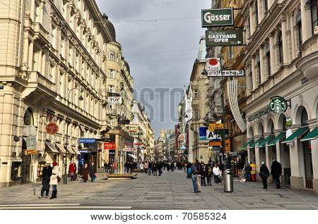 Pedestrian street with lots of shopping, Vienna, Austria