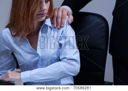 View of woman feeling uncomfortable at work poster