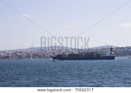 Containership On Bosphorus