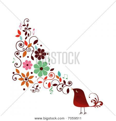 Whimsical bird with musical notes and fun flowers poster