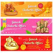 illustration of banner for Ganesh Chaturthi sale promotion poster