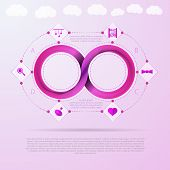 Pink infinity sign with silhouette baby things signs around. Vector infographic with Mobius ribbon and place for your text. poster