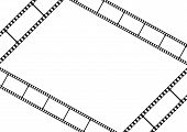 Film strip template card, movie theater frame corners, vector illustration poster