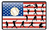 baseball player shapes over the american flag poster