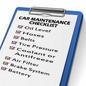 car maintenance checklist clipboard with check boxes marked for equipments of car poster