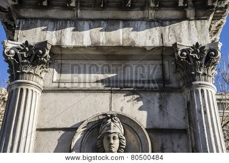 Main columns, National Library of Madrid, Spain. architecture and art