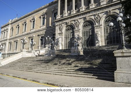 Main entrance, National Library of Madrid, Spain. architecture and art