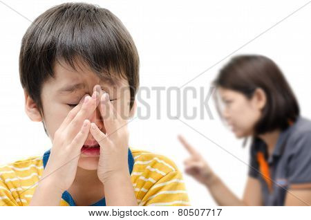 Mother Teaching Her Crying Son On White Background