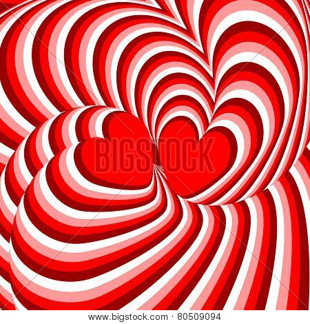 Design hearts twisting movement illusion background. Abstract strip torsion backdrop. Vector-art illustration. No gradient poster