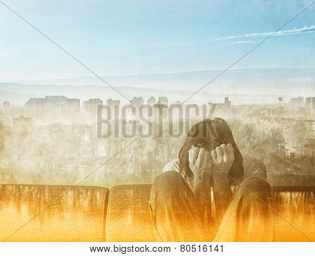 Social Alienation Concept Depressed Man covering face and crying in despair. poster