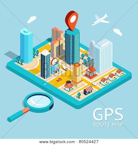 GPS route map. City navigation app