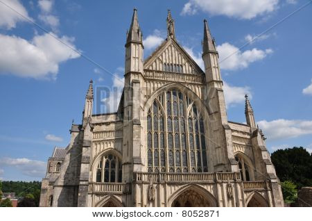 Winchester Cathedral Front Facade And Spires