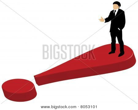 Business man standing on exclamation mark
