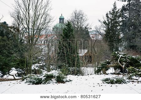 Topolcianky Castle With Snowy Park In Winter