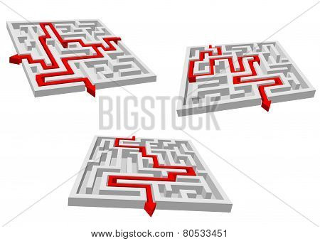 Gray mazes or labyrinths with red prompts