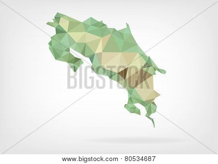 Low Poly map of Costa Rica