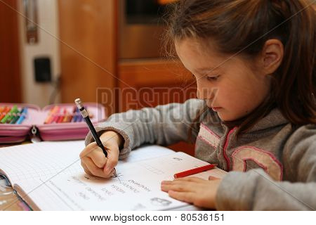 Little Girl Writes On The Notebook Of Schoolwork