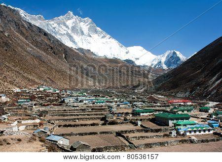 Dingboche Village And Mount Lhotse