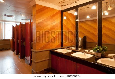 Interior Of A Luxury Public Restroom