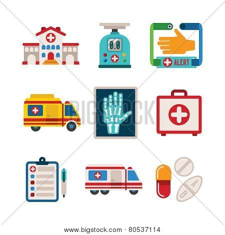 Set Of Vector Colorful Medical Icons In Flat Style