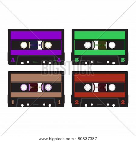 Colorful Retro Audio Cassettes