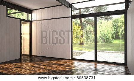 3D Rendering of Architectural background of a modern empty room with floor-to ceiling window overlooking a lush garden and outdoor patio with an interior glass door over a hardwood parquet floor