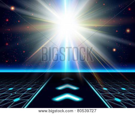 Bright sun burst. Fantasy cosmic background.