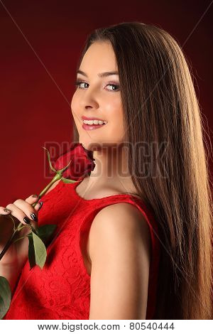 Valentines Beautyfull Girl With Red Rose In Her Hands