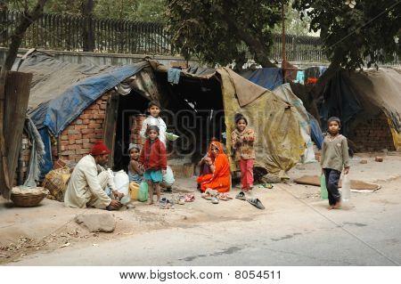 Poor Family At Slum Area In Delhi, India