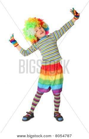 Little Boy In Clown Dress Standing Isolated On White Background