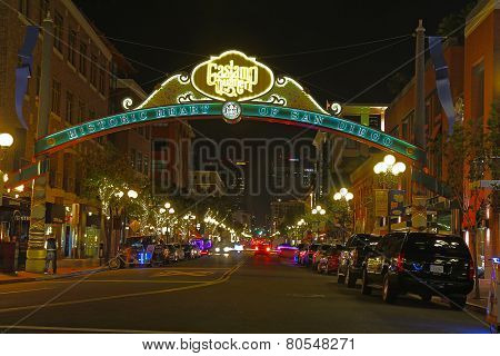 Entrance To The Gaslamp Quarter Of San Diego, California