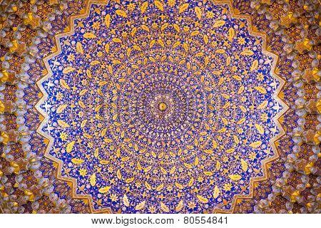 Interior Of Ancient Tillya Kary Madrassah In Samarkand